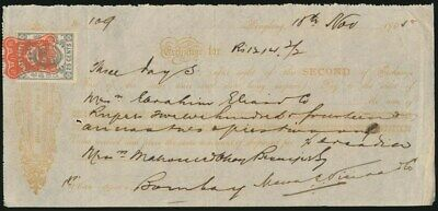 "Hong Kong: India 1905 1200 Rupee Sight Note ""PAYABLE BOMBAY"". With HK Duty Stamp"
