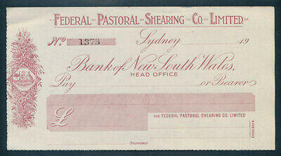 """Australia: 1920s Federal Pastoral Shearing Co. Sydney """"SCARCE UNISSUED CHEQUE"""""""