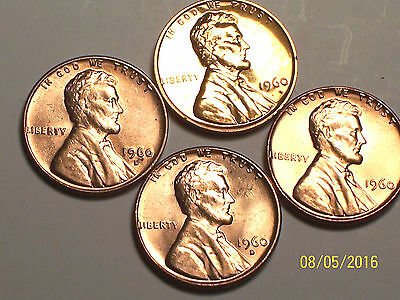 1960-- *4* penny set of Lincoln Memorial Pennys