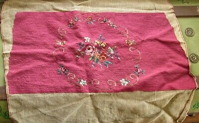 Antique Handmade Needlepoint Floral Tapestry Hiawatha Chair Cover Dark Pink