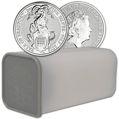 2019 Great Britain Silver Beasts Yale £5 - 2 oz - 1 Roll 10 Coins in Mint Tube