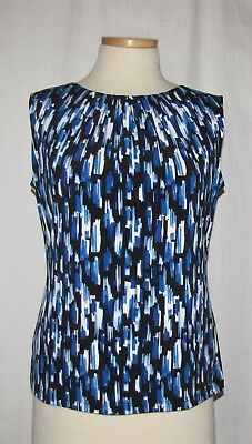 Calvin Klein Blue-Multi Abstract Print Pleated Neckline Slvless Blouse Top L NWT