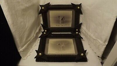 Antique Pair Champion Epping Dogs Photos / Black Forest Tramp Art Frames