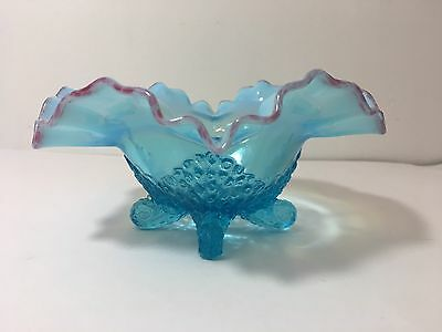 Antique Jefferson Glass Blue Opalescent Cranberry Frit Footed Bowl Fancy Fantail