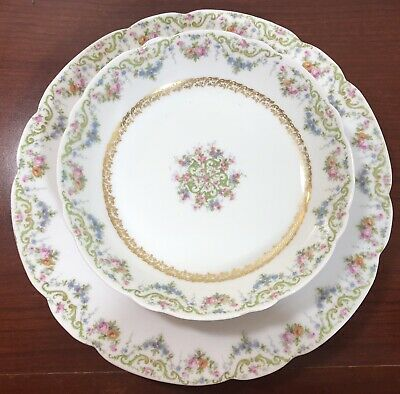 Jean Pouyat JPL Limoges France Porcelain Bowl and Plate Floral Swags