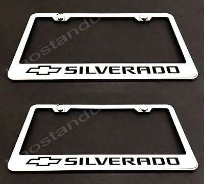 2X MDX Laser Style Custom Stainless Steel Black License Plate Frame Rust Free
