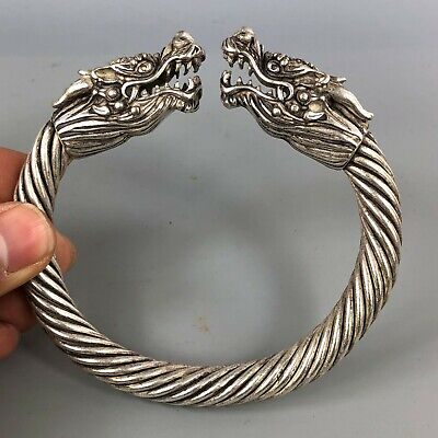 Rare Chinese Collectible Old Antique Tibet Silver Handwork Dragon Head Bracelet
