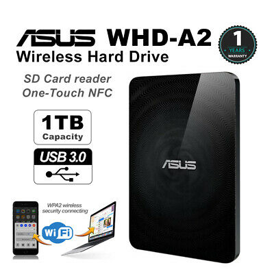 Asus WHD-A2 TravelAir Wireless 1TB HardDrive SD Card Reader NFC USB 3.0 1 Year