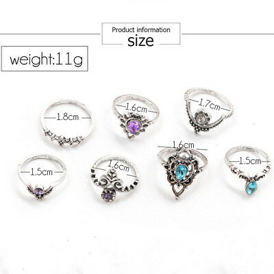 NEW 7pcs/Set Antique Silver Color Crystal Finger Rings For Women Fashion Party