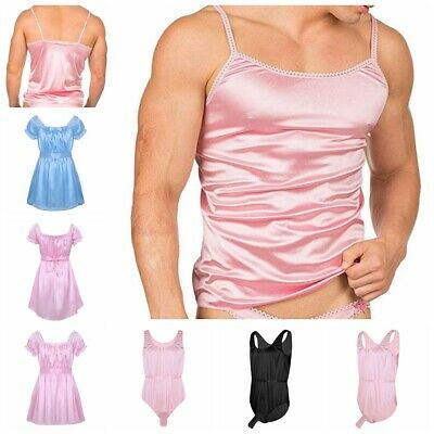 Sissy Men Lingerie Nightwear Underwear Satin Crossdress Lingerie Sleepwear Party