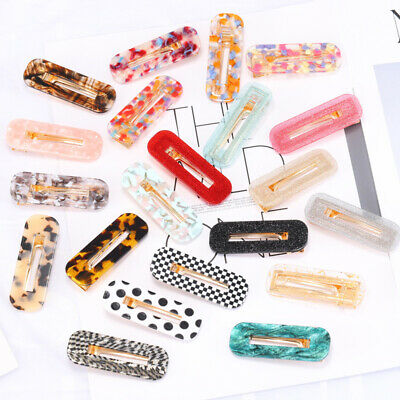 Women Hair Slide Clips Rectangle Resin Hairpins Tortoise Shell Snap Barrettes UK