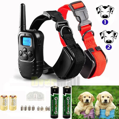 Waterproof 1000Yard 2 Dog Shock Training Collar Pet Trainer W/ Remote 4 Modes US