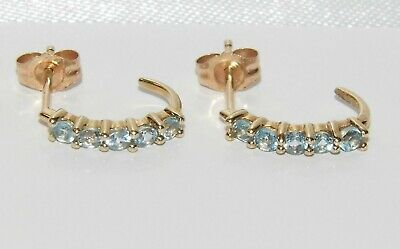 9ct Gold Blue Topaz Cuff / Stud Earrings - Solid 9K Gold