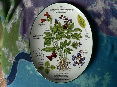 Royal Worcester Porcelain Oval Dish Herbs Sage Salvia Officinalis