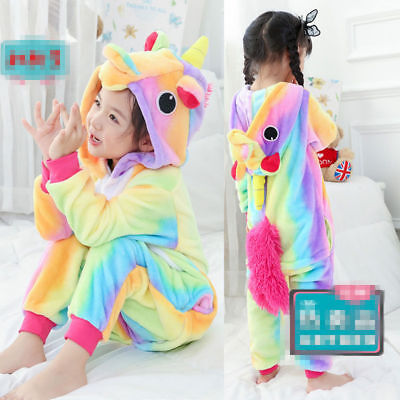 Kid's rainbow Unicorn Kigurumi Animal Cosplay Costume Pajamas Sleepwear
