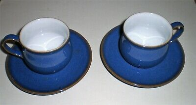 2 x small Coffee/Espresso Denby Imperial Blue cups & saucers - perfect condition