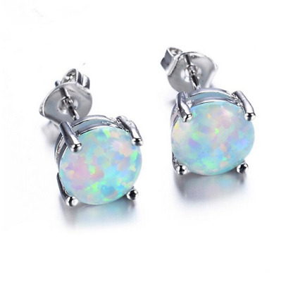 1 Pair Woman Fashion 925 Silver Jewelry White Fire Opal Charm Stud Earring NEW !