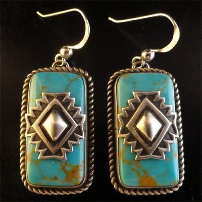 1 Pair Woman fashion 925 Silver Jewelry turquoise Charm Earring Pendant NEW !!