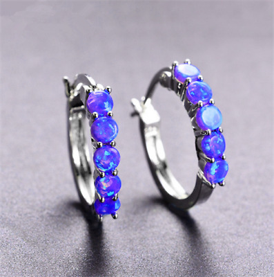 1 Pair Woman Fashion 925 Silver Jewelry Purple Fire Opal Charm Stud Earring !!