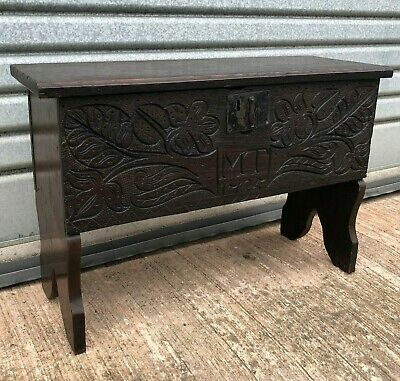 18th Century Style Carved Oak Coffer Dated 1735 Late Victorian