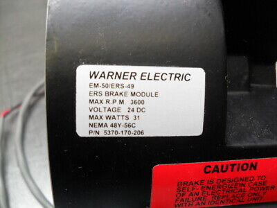 WARNER ELECTRIC EM-50/ERS-49 ERS Brake Module Guaranteed 60 Days