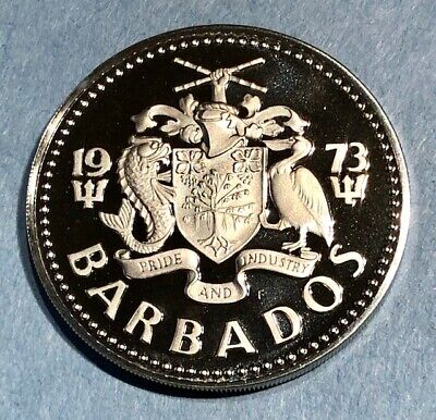 1973 Barbados $1 Dollar Proof Gem Fdc Coin Km# 14.1 North & Central America