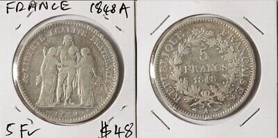 France: Second Republic 1848A 5 Franc Hercules Silver, Crown Size, Scarce