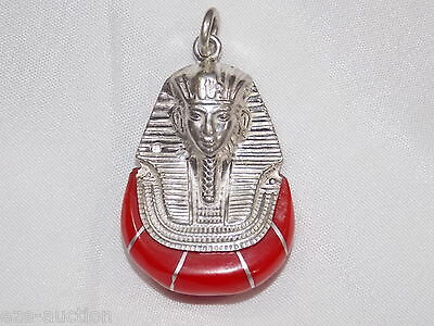 Egyptian 925 Solid Silver Stamped Red King Tut Ankh Amon Mask Pendant