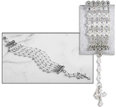 Five String Rosary Bracelet with Miraculous Medal and Crucifix Charm, 7 Inch