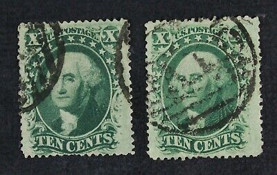 CKStamps: US Stamps Collection Scott#35 (2) 10c Washington Used 1 Lightly Crease