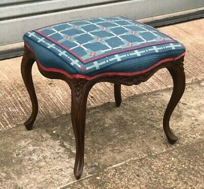 Victorian Walnut Serpentine Shaped Cabriole Leg Stool 1880 Wool Upholstered