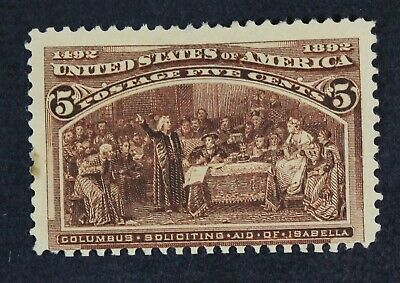 CKStamps: US Stamps Collection Scott#234 5c Columbian Unused NG Spot Thin