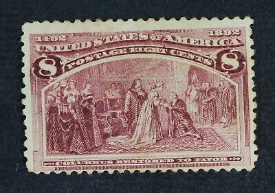 CKStamps: US Stamps Collection Scott#236 8c Columbian Mint H OG Thin