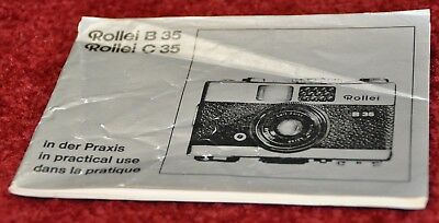 Rollei B35 and C35 - Genuine Instruction Manual Only - Free Shipping!
