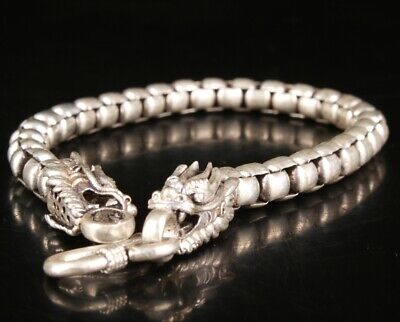 Exquisite Chinese Tibetan Silver Hand Carving Dragon Bracelet Jewelry Gift