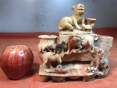 Antique Chinese Soapstone Carved Tobacco Dispenser Statue Figure Animals Orient