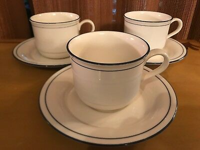 LENOX Chinastone BLUE PINSTRIPES For the Blue Patterns- Set of 3 CUPS & SAUCERS
