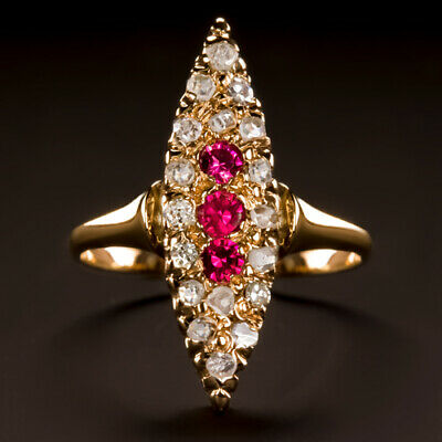 ANTIQUE ROSE CUT DIAMOND RUBY NAVETTE RING VICTORIAN COCKTAIL YELLOW GOLD 1800s