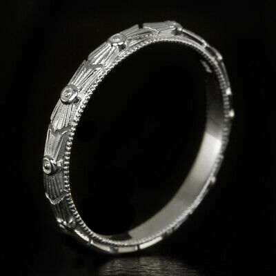 ART DECO PLATINUM WEDDING BAND VINTAGE STYLE 1920s ETCHED RETRO RING ENGRAVED
