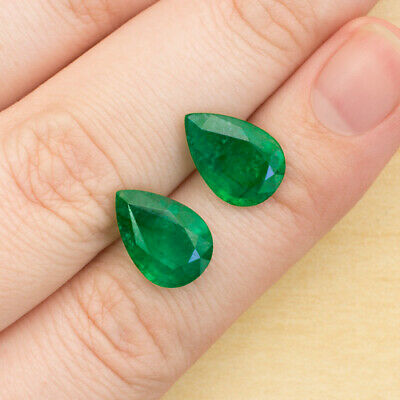 5.64ct NATURAL GREEN EMERALDS PEAR SHAPE CUT 13x 9 mm 8CT SPREAD MATCHING PAIR