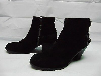 a8f711044 Sam Edelman Ankle Heeled Boots Booties Buckles Black Suede Zip Up Women s  Size 8
