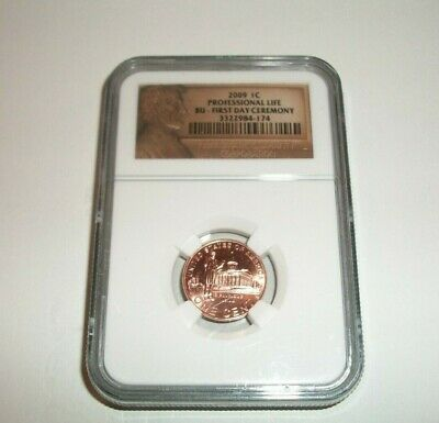 2009 Lincoln Professional Life Ngc Bu First Day Ceremony Penny  1¢ Cent Coin
