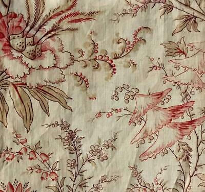 BEAUTIFUL MID 19th CENTURY FRENCH LINEN COTTON INDIENNE, PARASOL FLOWERS 146