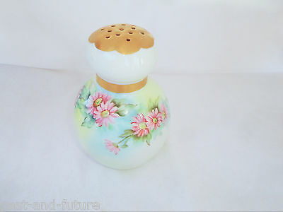 """Hand Painted Porcelain Powder Muffineer Shaker With Pink Daisies, 4 3/4"""" Tall"""