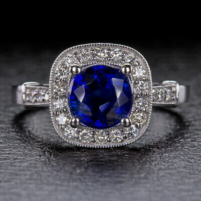 2.5ct NATURAL ROYAL BLUE KYANITE DIAMOND CUSHION HALO ENGAGEMENT COCKTAIL RING