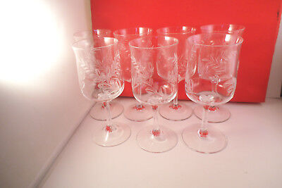 Vintage Set of 7 Clear Glass Cut Etched Wheat Fern Pattern Wine Glasses