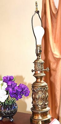 "Vintage Brass Table Converted Oil Lamp ?  Victorian Style Mid Century Era 26.5""H"
