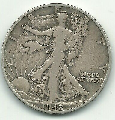 A Vintage Better Grade 1942 S Liberty Walking Silver Half Dollar Coin-Mar452