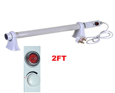 2FT Low Energy Tubular Tube Heater Thermostat For Bathroom Garage Greenhouse 90W