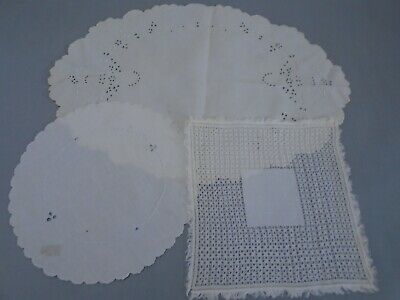 Lot of 2 Antique handmade & hand embroidered doilies color white
